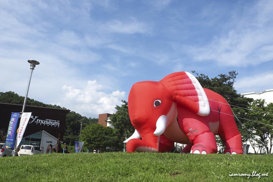 양평군립미술관에 전시된 대형 코끼리 풍선