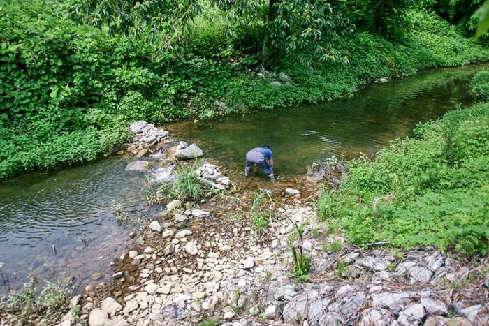 계곡에서 물고기 잡이를 하는 사람