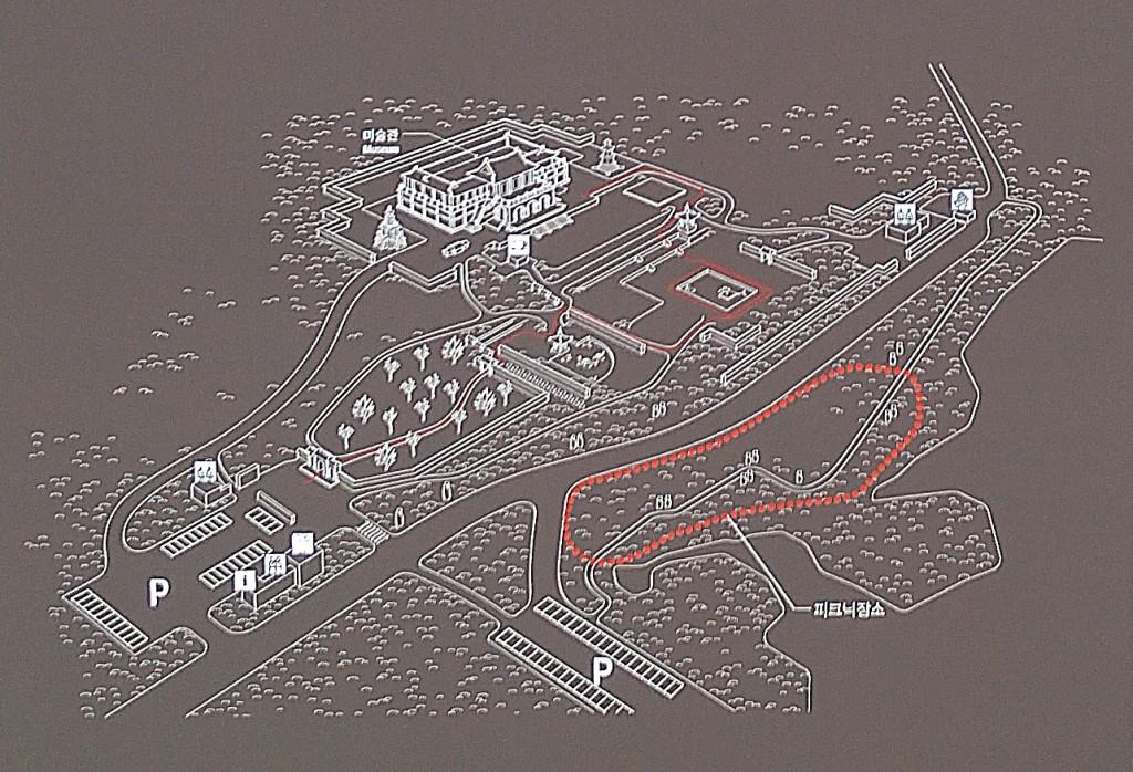 피크닉 장소가 표시된 호암지도