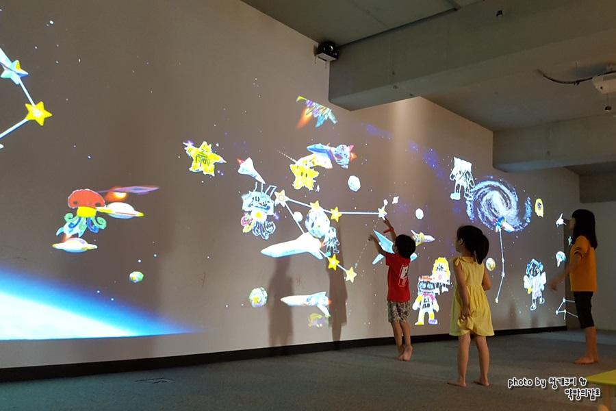 화면에 비추는 우주를 보고 있는 아이들