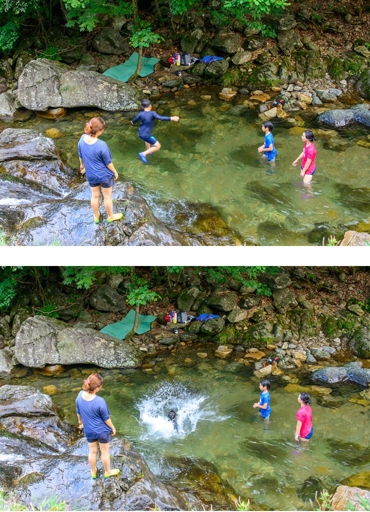 물에 뛰어든 아이