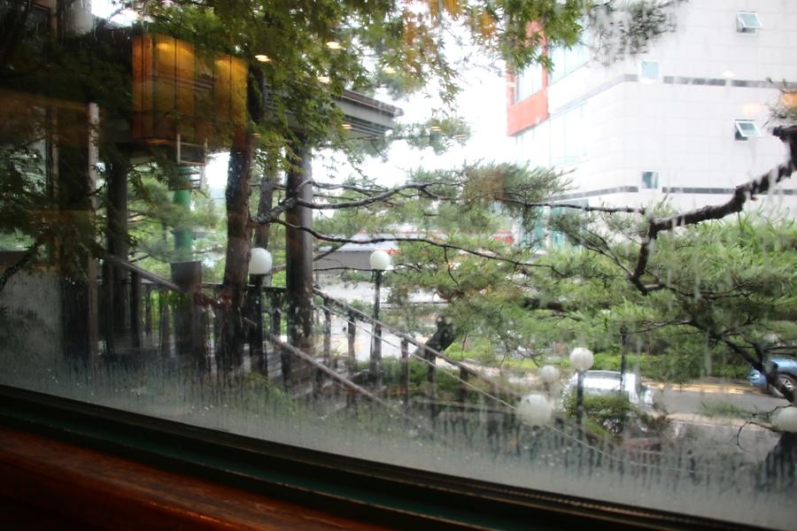 창밖으로 쏟아지는 비
