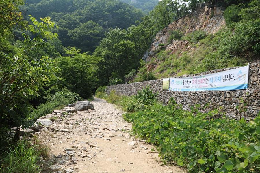 자연보호를 위한 플랜카드, 계곡 가는 길