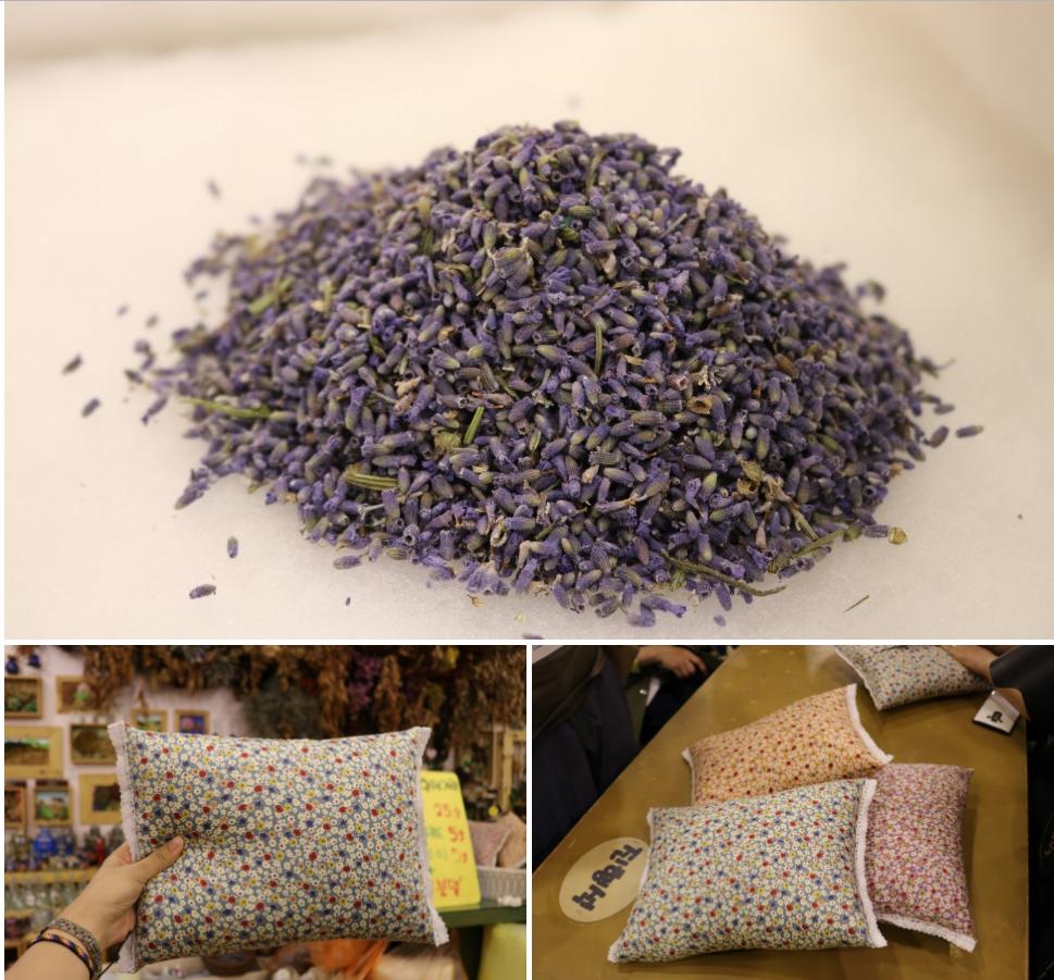 라벤더 베개를 만드는 모습