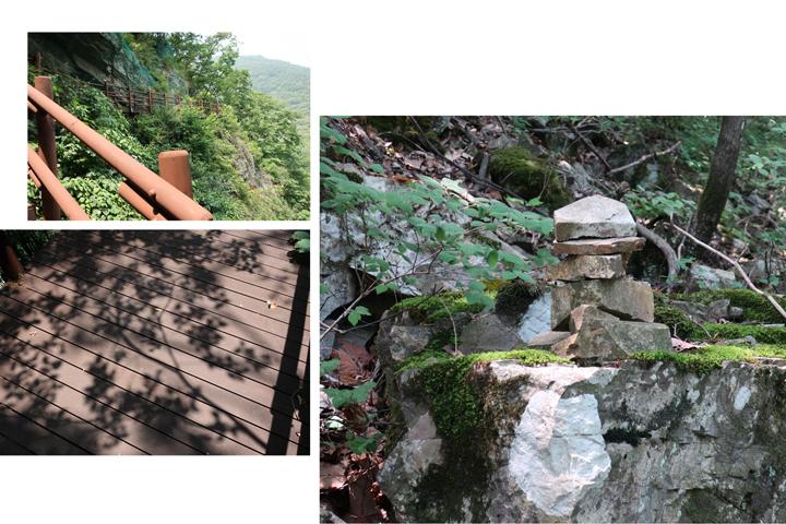 나무 데크 계단을 따라