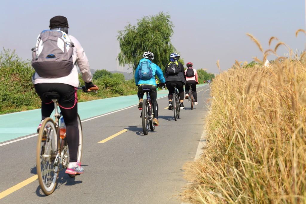 탄천자전거도로에서 자전거 타는 사람들1