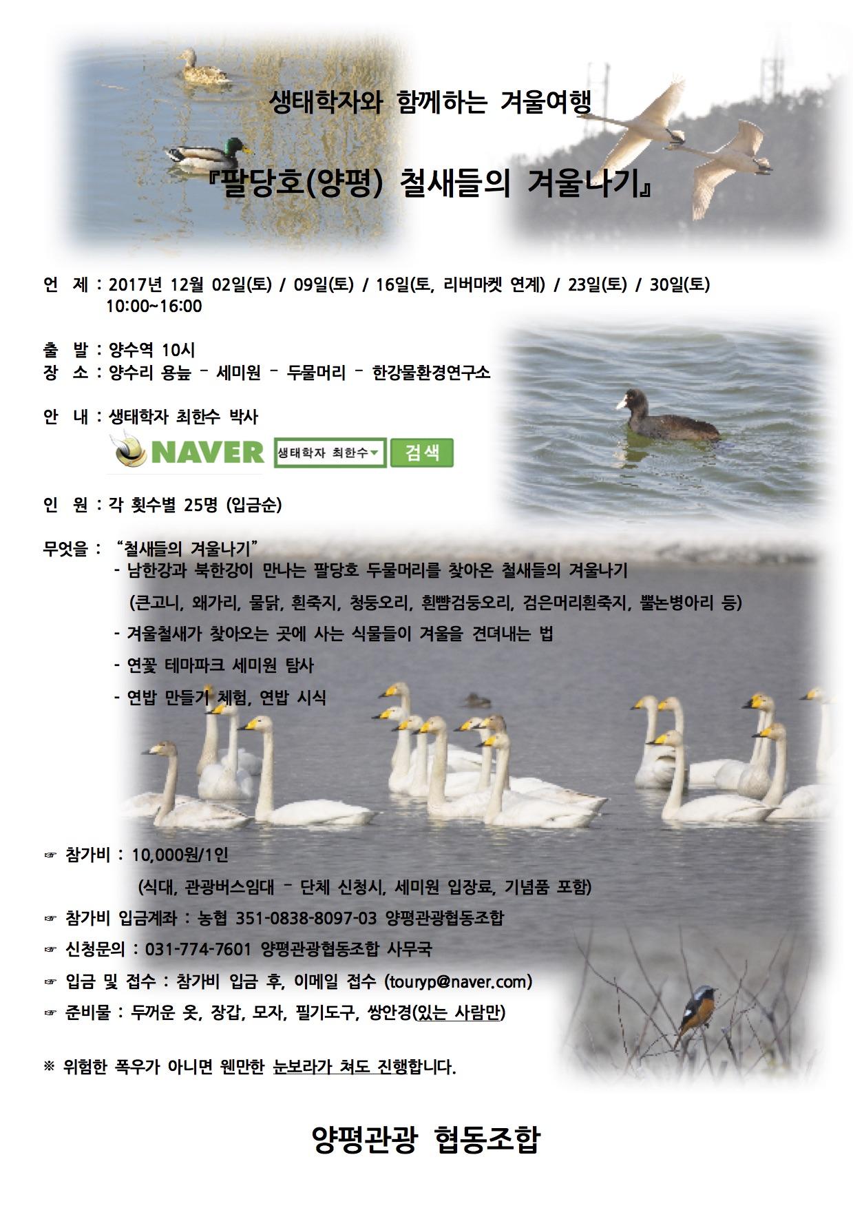 팔당호(양평) 철새들의 겨울나기 참가안내