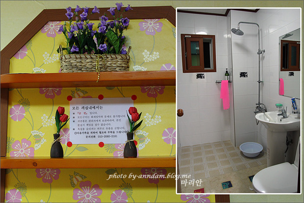 (왼쪽)선반에 올라간 꽃 장식물들 (오른쪽)화장실의 모습