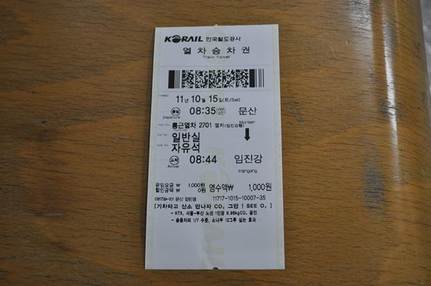 문산 - 임진강 열차승차권