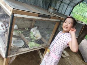 토끼 우리 앞에서 포즈를 취하는 아이의 모습