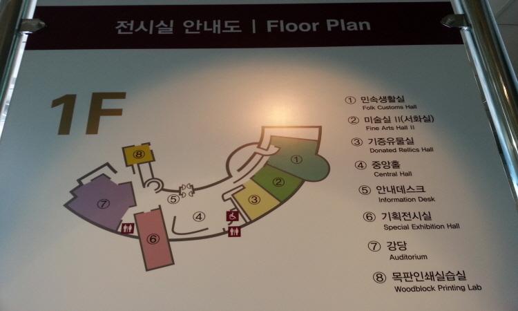 1층 전시실 안내도. 1.민속생활실 2.미술실II(서화실) 3.기증유물실 4.중앙홀 5.안내데스크 6.기획전시실 7.강당 8.목판인쇄실습실
