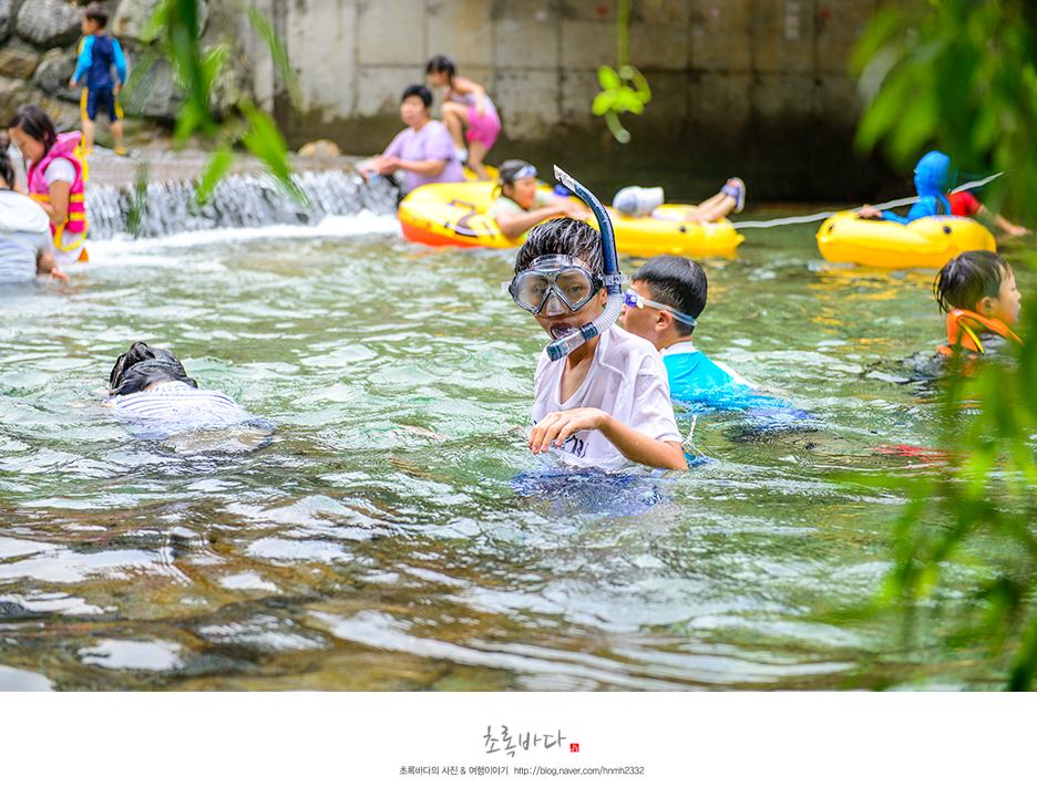 물안경을 쓰고 물 속을 확인해보는 아이들