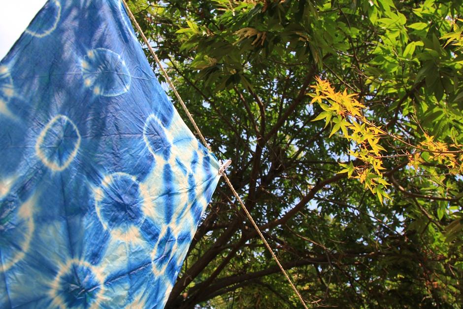 단풍아래에서 말리고 있는 염색한 천의 모습