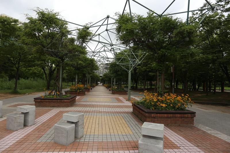 나무가 길게 늘어져 서있는 부천중앙공원의 전경