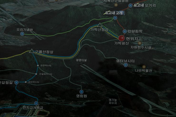 가학산의 등산로를 그린 지도