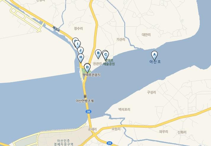 평택호의 위치를 표시한 지도의 모습, 평택호 : 경기도 평택시 현덕면 평택호 031-659-4318