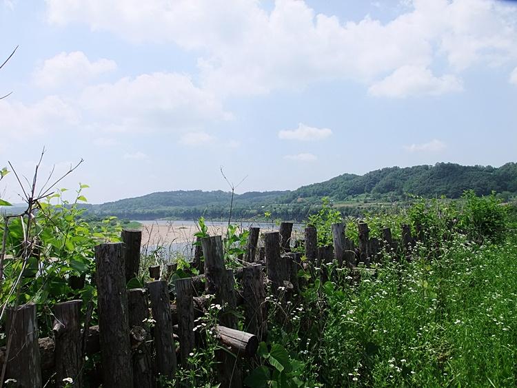 멀리 보이는 강과 울타리
