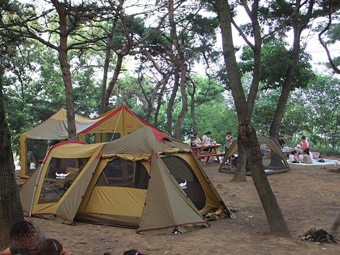 텐트를 세우고 휴식을 취하는 사람들의 모습