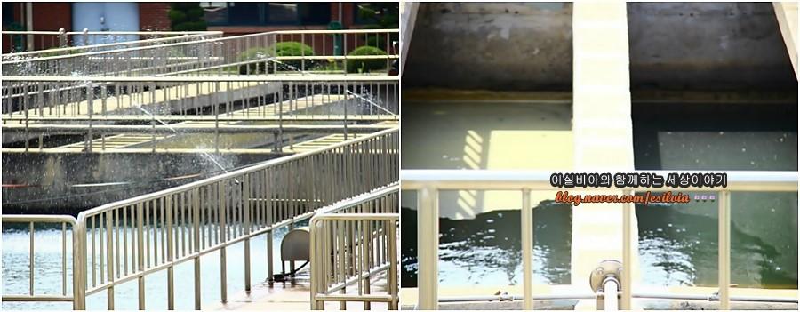 까치울정수장 침전과 불순물 응집을 위한 시설들