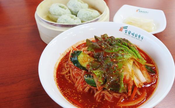 비빔국수와 만두