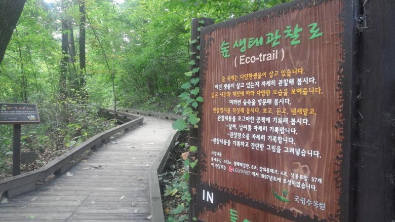 숲생태관찰로 (Eco-trail) 숲 속에는 다양한생물일 살고 있습니다. 어떤 생물이 살고 있는지 자세히 관찰해 봅시다. 숲은 시간과 계절에 따라 다양한 모습을 보여줍니다. 여러 번 숲속을 방문해 봅시다. 관찰일지를 작성해 봅시다. 보고, 듣고, 냄새맡고, 관찰내용을 조그마한 공책에 기록해 봅시다. -날짜, 날씨를 자세히 기록합니다. -관찰장소를 자세히 기록합니다. -관찰내용을 기록하고 간단한 그림을 그려넣습니다.
