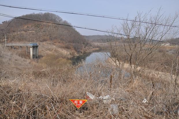 사미천교 주변 지뢰표지판