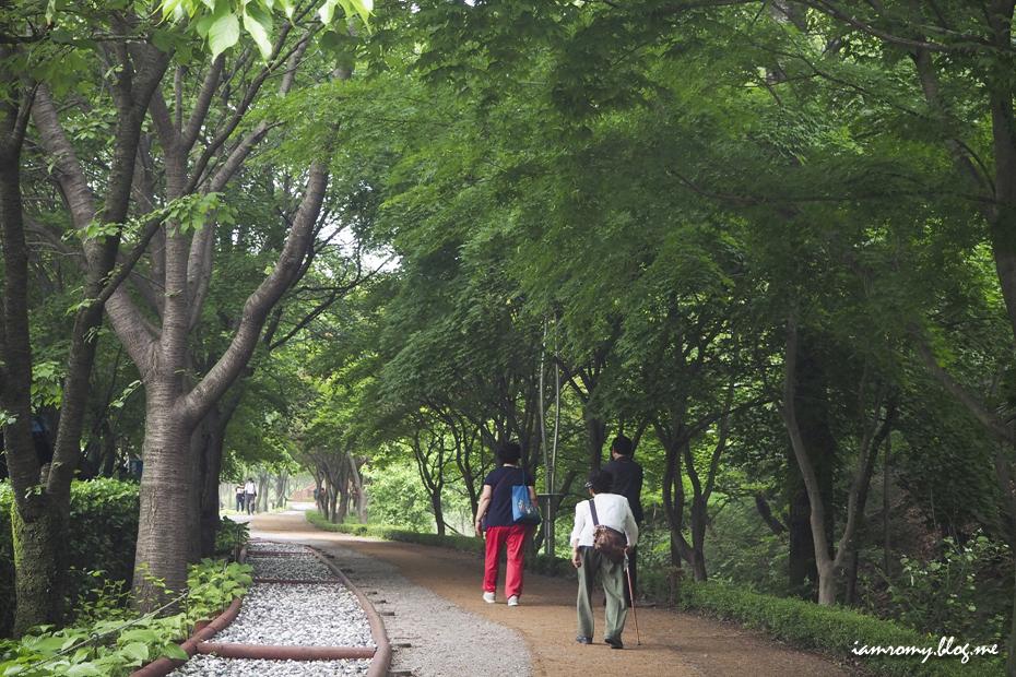 산책로를 걷는 사람들