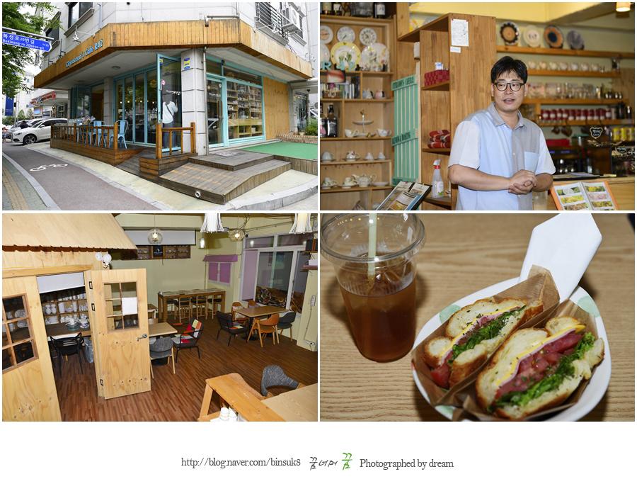 카페 전경과 음식의 모습