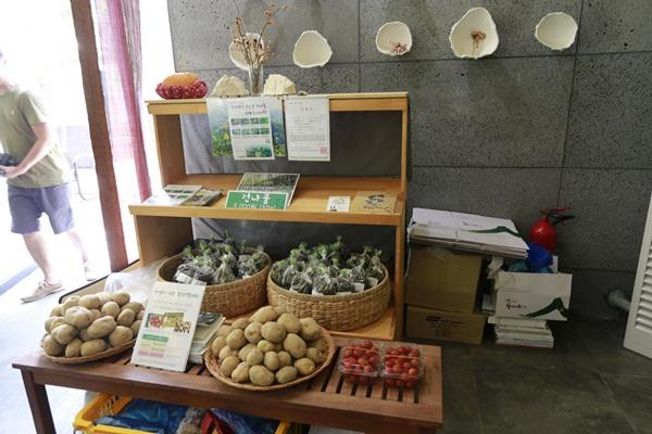 감자, 토마토, 건나물 등을 파는 코너