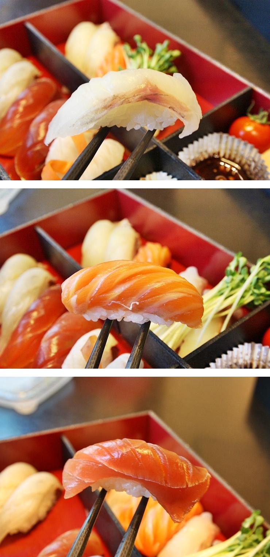 생선, 연어, 참치 초밥 한조각