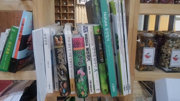 꽂혀있는 꽃 관련 책들
