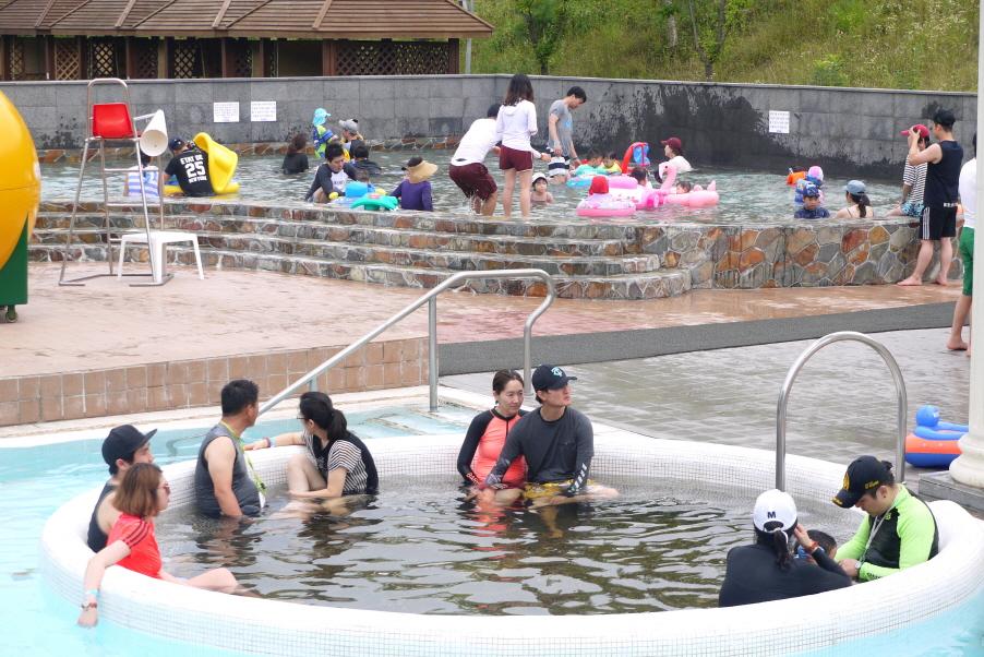 야외 수영장에서 노는 사람들