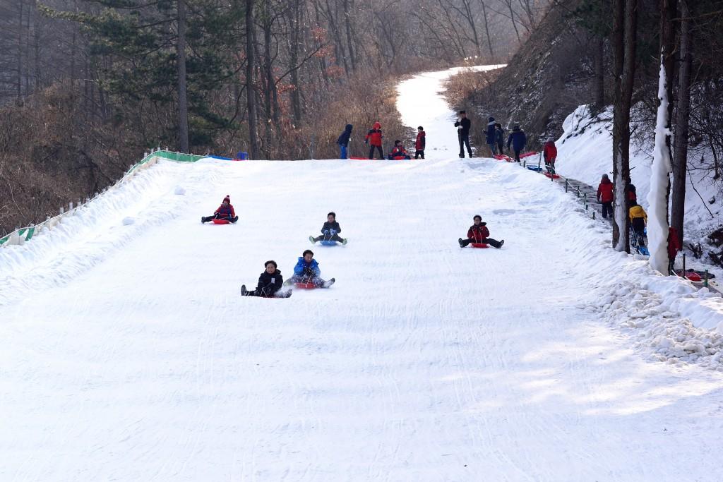양평 겨울비밀축제에서 얼음썰매를 타는 아이들
