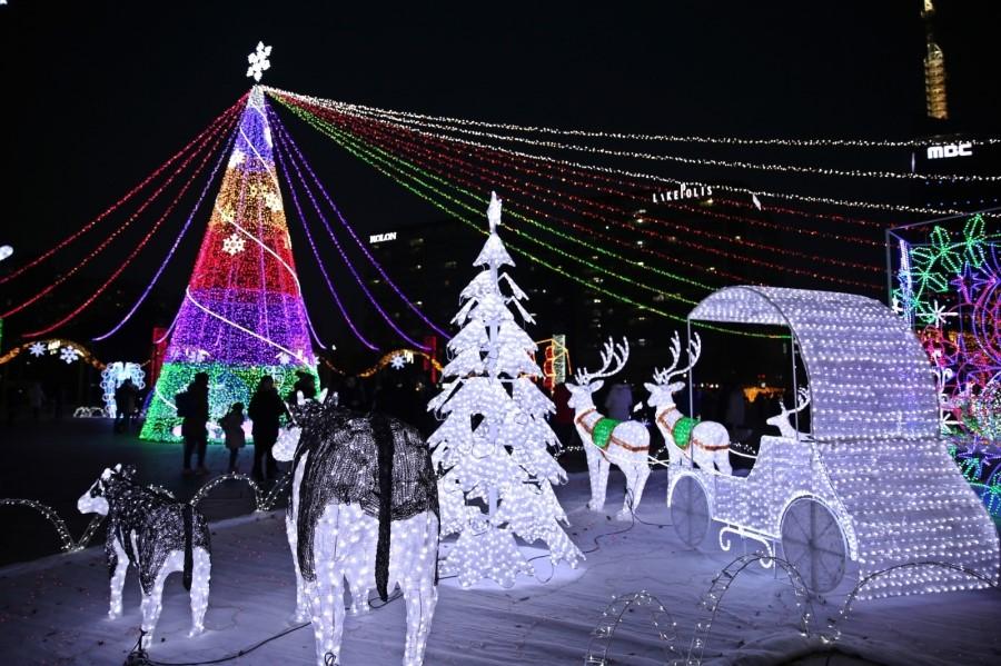 트리조명과 크리스마스 조명장식