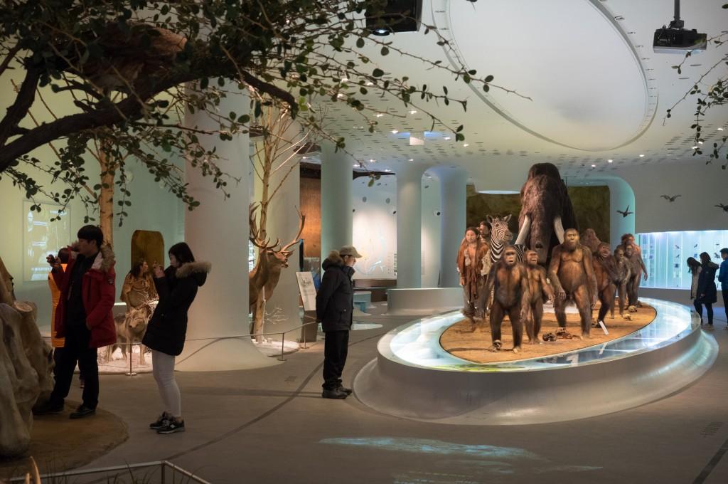 전곡선사박물관 내부 모습과 관람중인 사람들