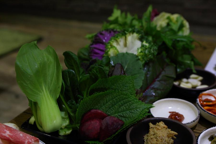신선한 쌈 야채들