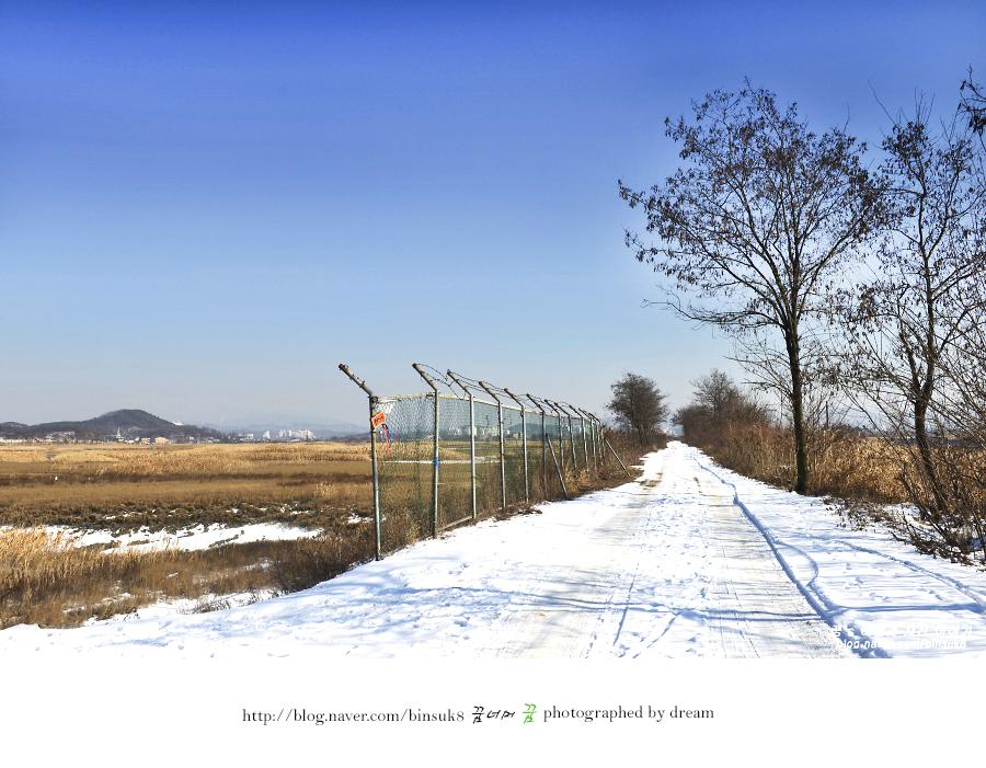 눈이내린 생태공원 옆길