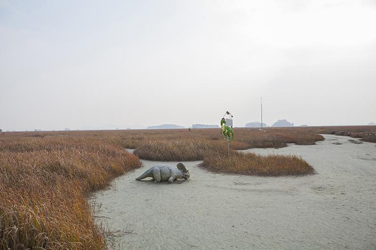 華城恐竜の卵化石産地 の全景。