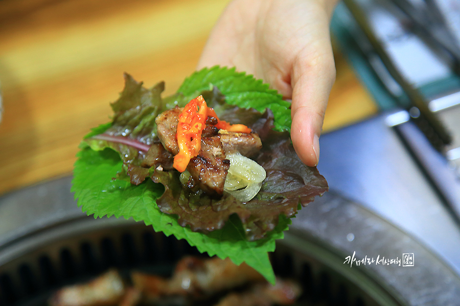 고기와 각종 야채를 얹은 상추,깻잎 쌈