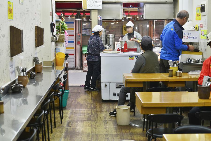 칼국수 식당 내부 모습