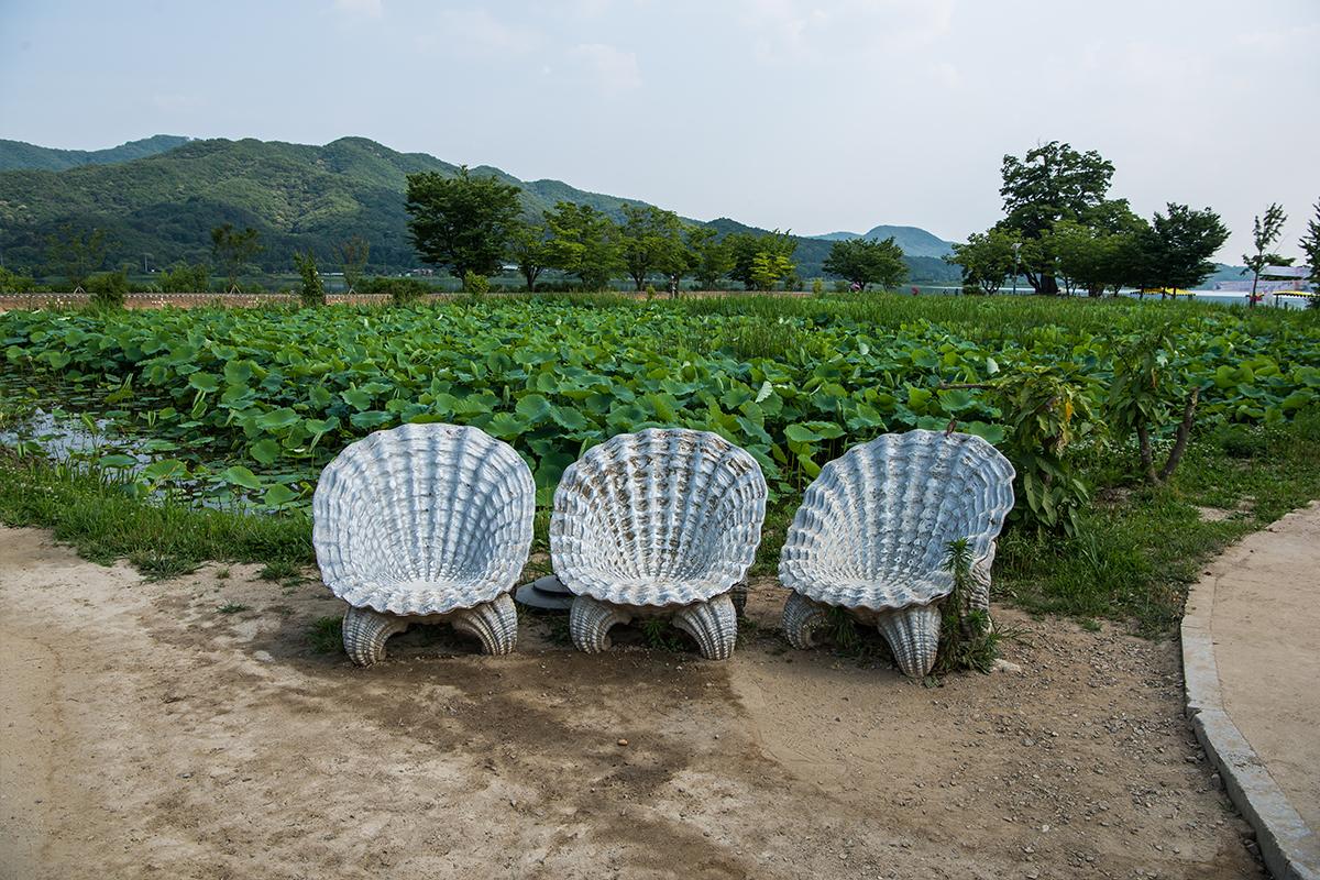 연못과 조개모양의 의자들
