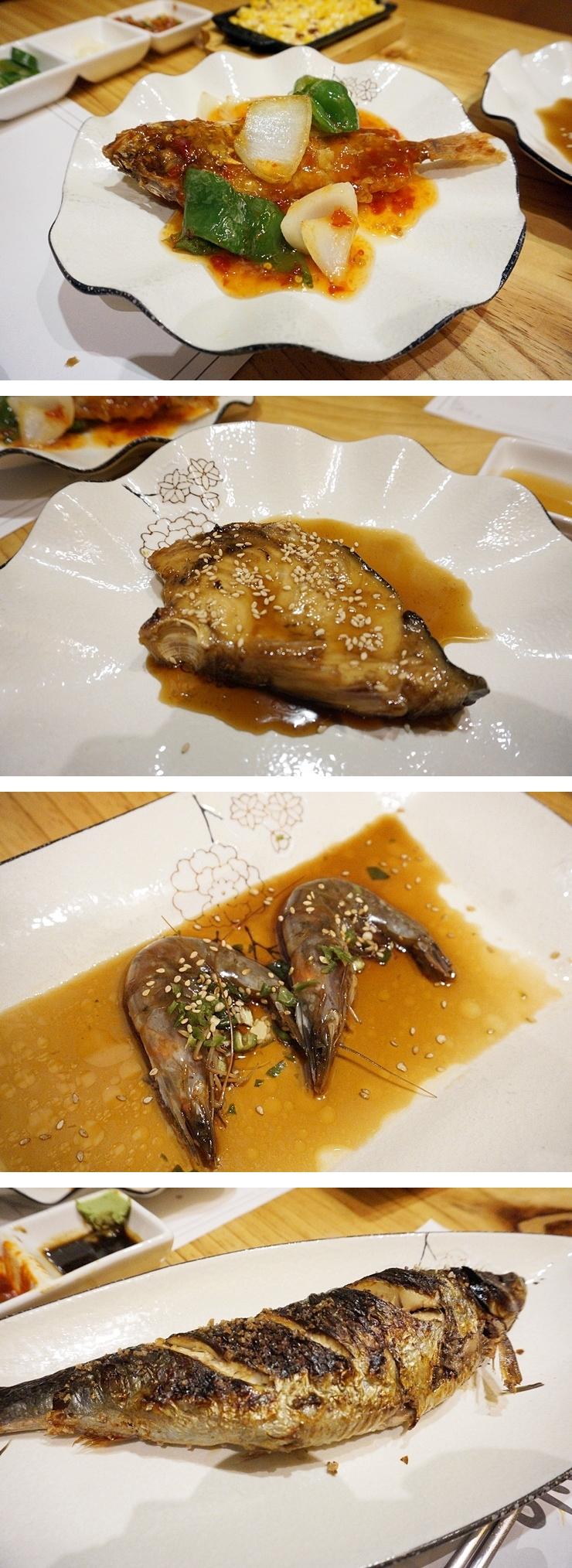 생선탕수, 새우장, 메로간장조림, 청어구이