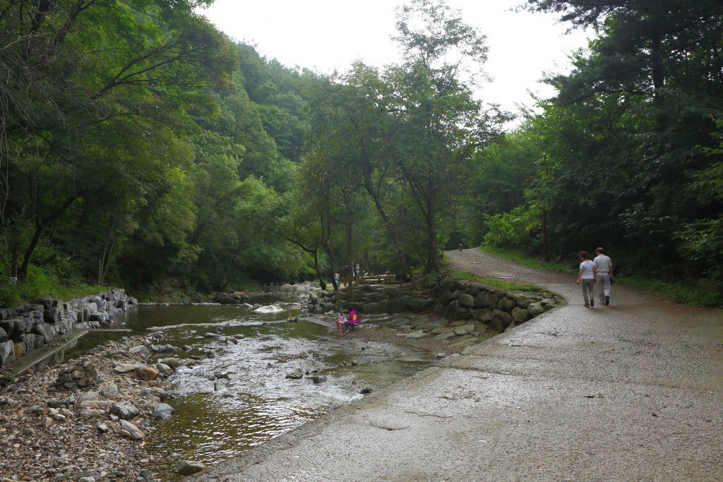 산림휴양관 계곡 옆길의 트레킹 모습