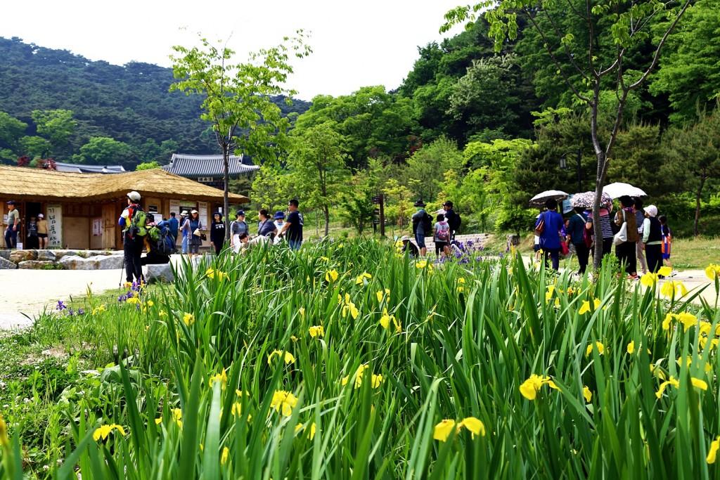 남한산성 내 구경하는 사람들