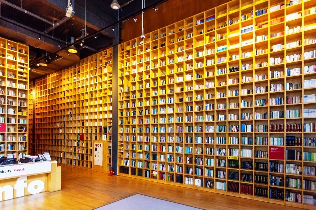 천정까지 놓인 책장과 책이 가득 들어있는 모습