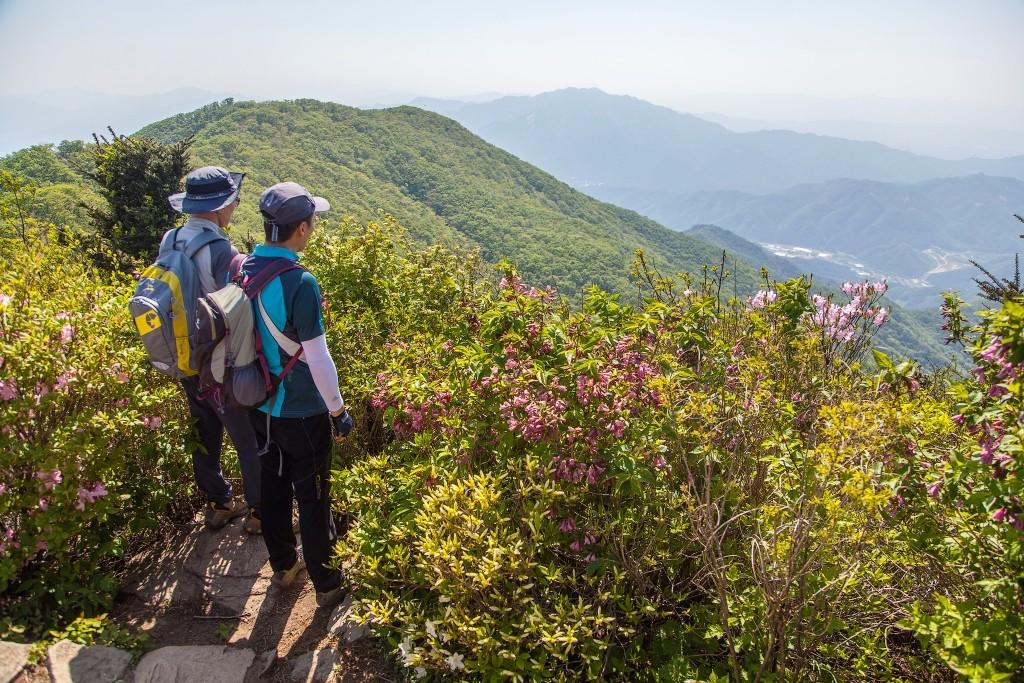 연인산도립공원 정상에서 풍경을 바라보는 사람들