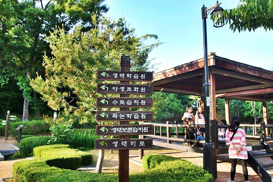 생태학습원, 야생초화원, 수로습지원, 묵논학습원, 생태보존습지원, 생태미로 표지판