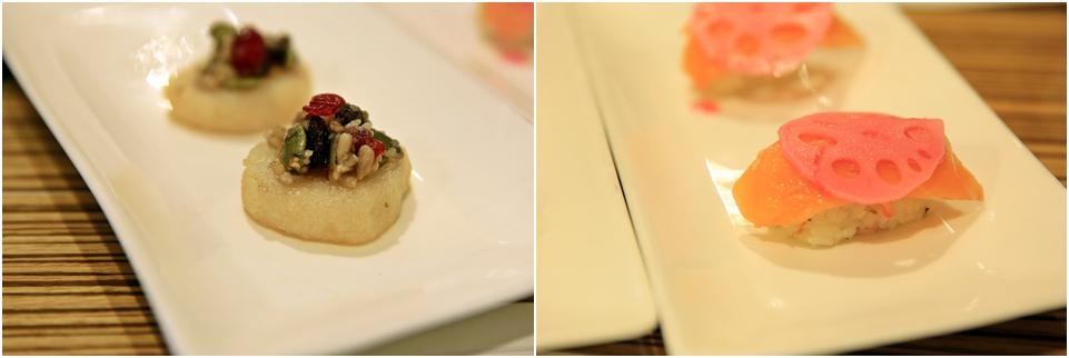 찹쌀화전과 연어초밥, 연근튀김이 올려진 샐러드