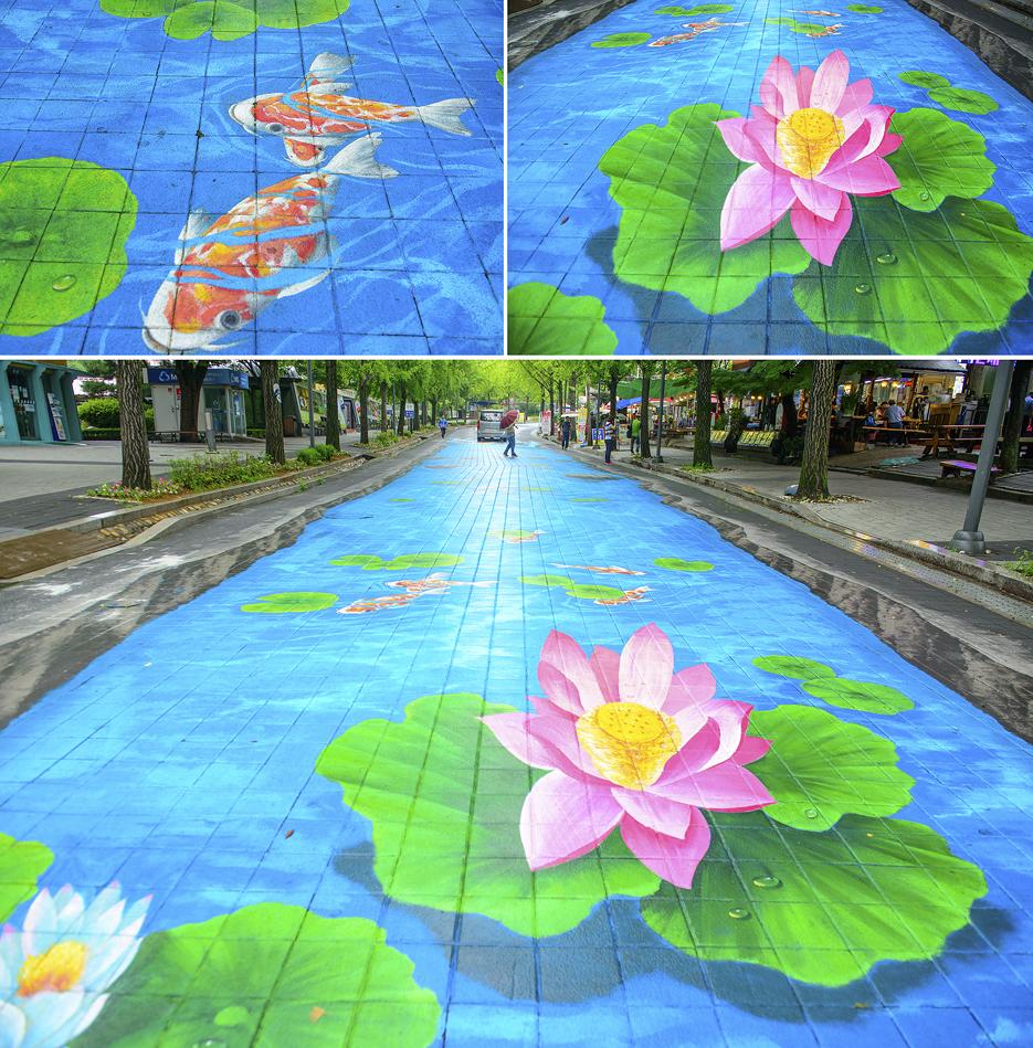 잉어와 연꽃벽화