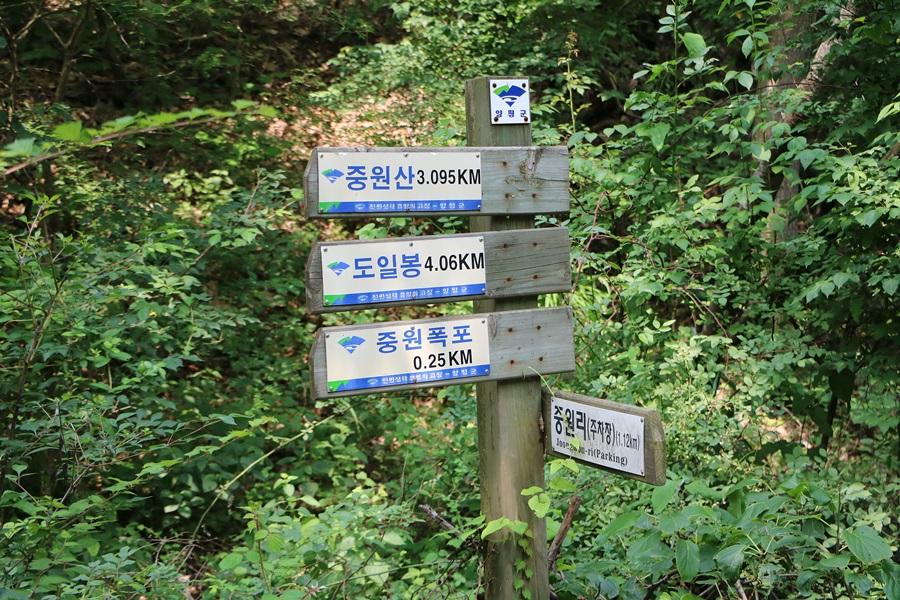 중원산, 도일봉, 중원폭포, 중원(주차장) 이정표